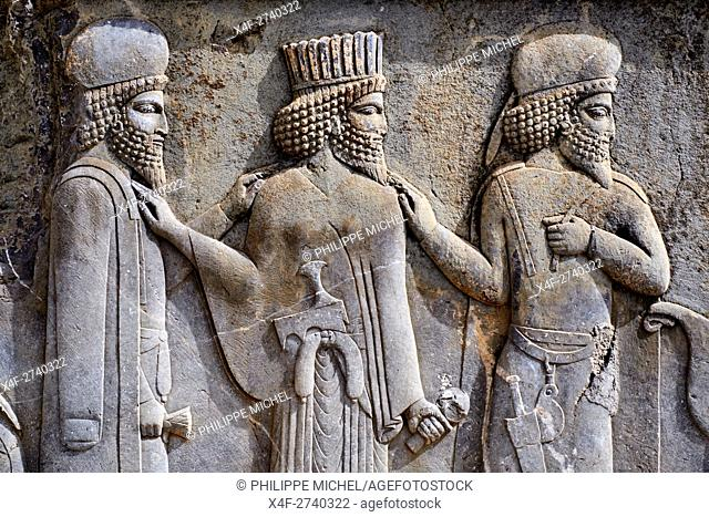 Iran, Fars Province, Persepolis, World Heritage of the UNESCO, staircases of Apadana, releif of the warriors
