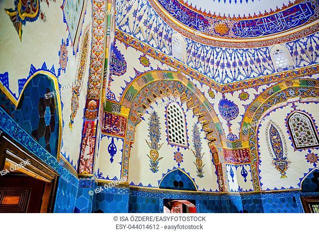 Interior of view of shahzada,Prince Cem tomb, mausoleum at Muradiye complex or Complex of Sultan Murad II in Bursa,Turkey. 20 May 2018