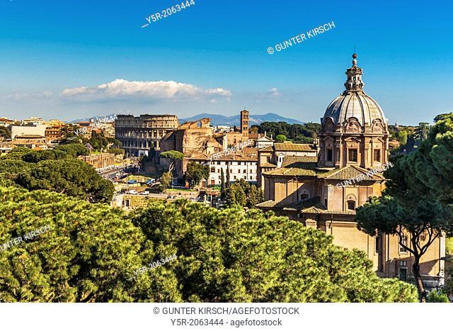 View of the Roman Forum, the church of Santi Luca e Martina and the Colosseum, Rome, Lazio, Italy, Europe