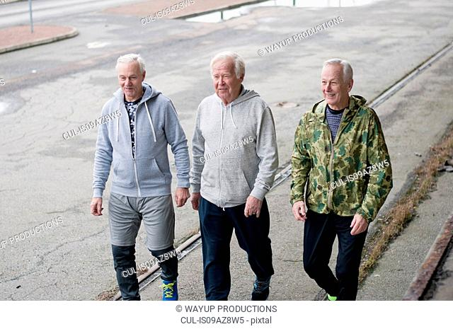 Senior friends wearing sports clothes walking side by side