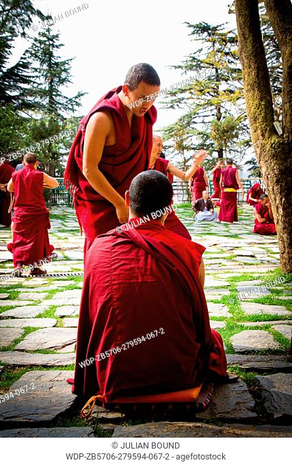 Buddhist monks and nuns debatetogether to celebrate Losar, the Tibetan New Year at the Dalai Lama temple, McLeod Ganj, India