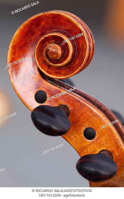 Italy, Lombardy, Cremona, Violin Maker Worshop, Close up Violin Bow