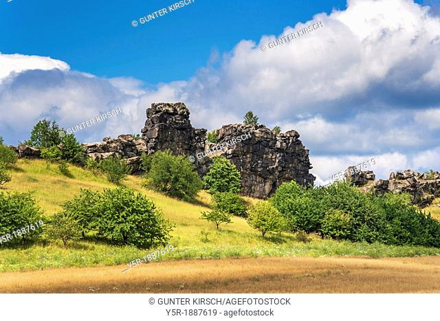 The Mittelsteine, middle Stones, near Weddersleben are part of the Teufelsmauer. The Teufelsmauer Devil's Wall is a rock formation made of hard sandstones