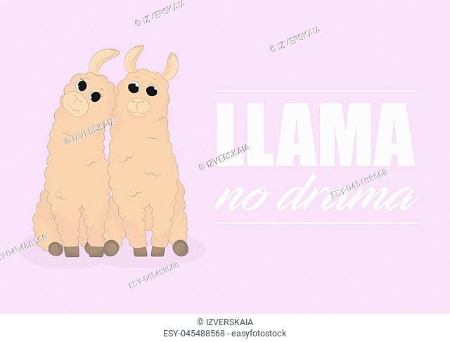 Cartoon llama. Cute lama. Alpaca. Card on colorful background. Vector Illuatration