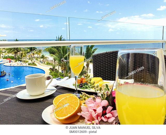Breakfast in balcony by the sea, Riviera Maya