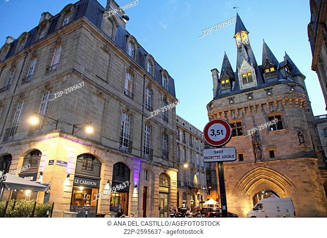 Bordeaux France, nightscape on September 4, 2015. Cailhau gate