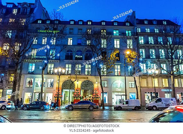 Paris, France, Christmas Shopping, Building Decorations, Outside Street Scenes, Night, Rue Royal
