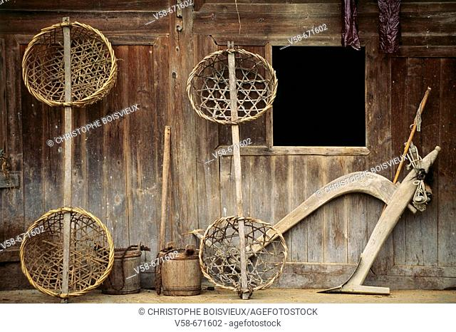 Bamboo baskets and wooden plough, langde village, kaili region, guizhou, China