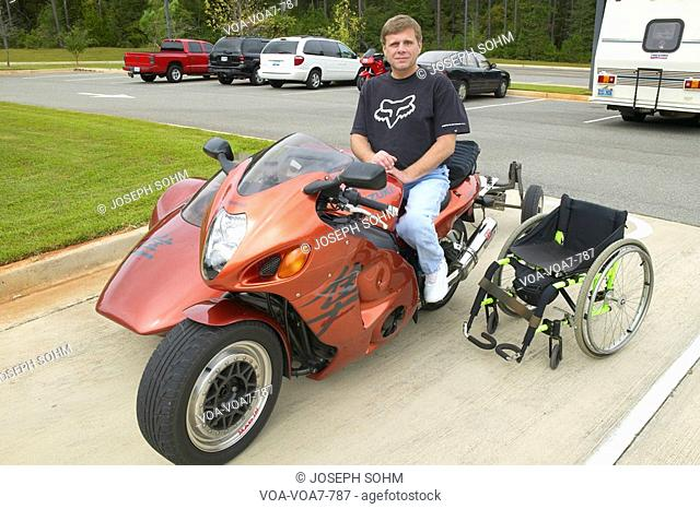 Paralyzed man in wheel chair rides motorcycle to Andersonville National Park in GA