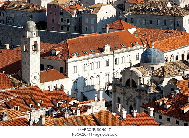bell tower, town hall, St Blaise Church, View from the city wall across historic town, old town, Dubrovnik, Dalmatia, Croatia