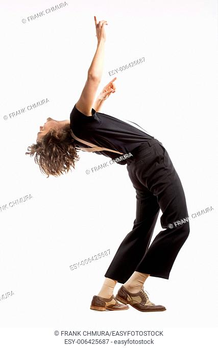 Young Man with Brown Hair Dancing - Isolated on White
