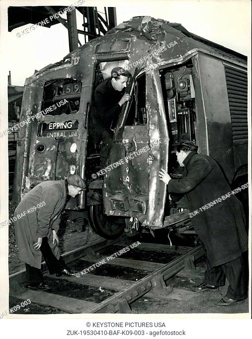 Apr. 10, 1953 - The Wrecked Trains of the Underground Crash. The wreckage of the Underground trains which crashed at Stratford on Wednesday evening