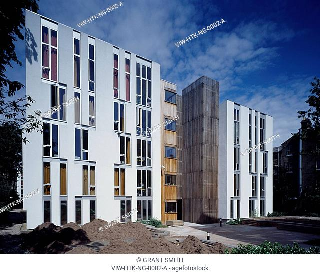 NEWINGTON GREEN STUDENT HOUSING, NEWINGTON GREEN, LONDON, N16 STOKE NEWINGTON, UK, HAWORTH TOMKINS ARCHITECTS, EXTERIOR, EAST ELEVATION OF BLOCK B