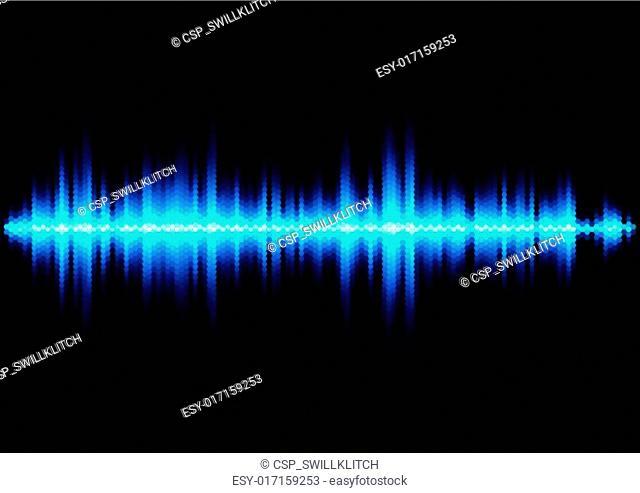 Blue sound waveform with hex grid light filter