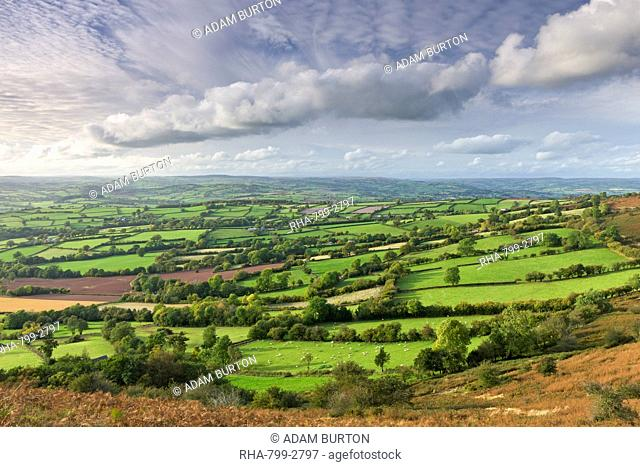 Patchwork rolling countryside near Llangorse in the Brecon Beacons National Park, Powys, Wales, United Kingdom, Europe