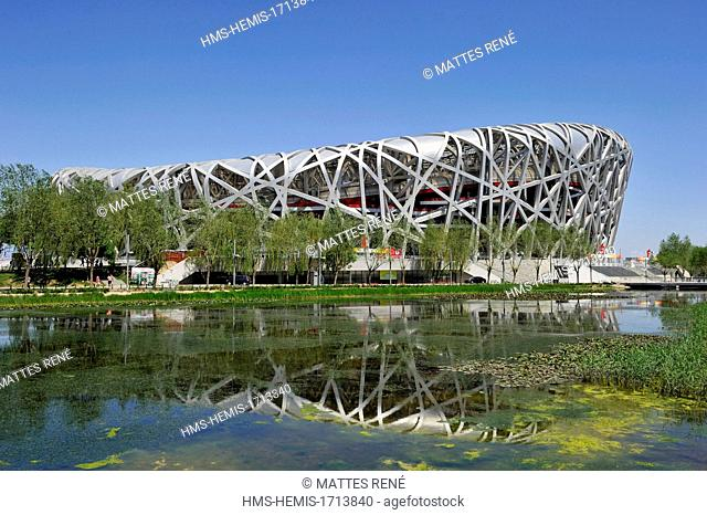 China, Beijing, Olympic Park, Beijing National Stadium, Bird Nest stadium by Herzog & de Meuron