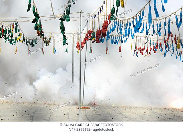 Mascleta de Falles, castle of fireworks in the square of the city council of Valencia, spain