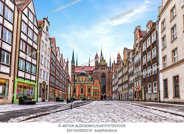 Gdansk street and the Royal chapel view in winter, Poland