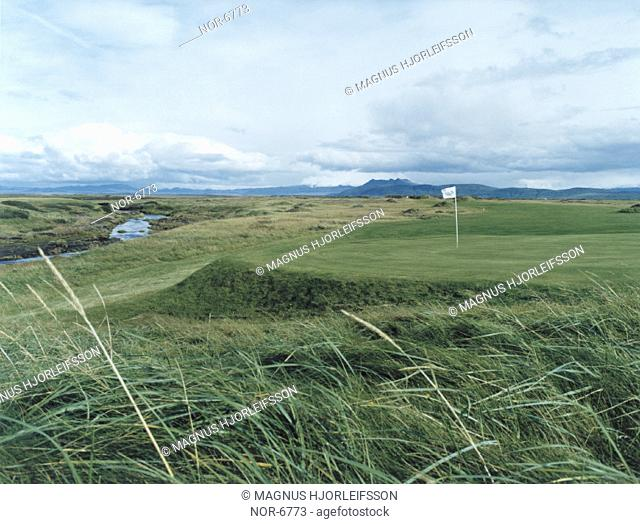 Golf course with a river below it, high grass in the foreground