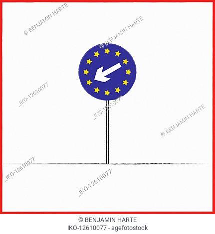 European Union flag on keep left road direction sign