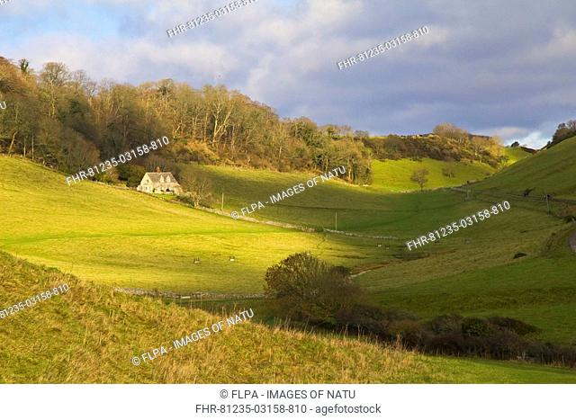 View of rural landscape with house in secluded coastal valley farmland, near Chapmans Pool, Dorset, England, january
