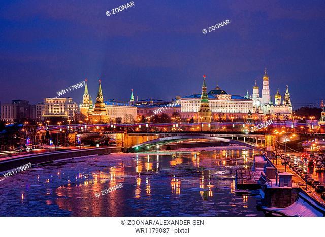 Moscow Kremlin And Big Stone Bridge At Winter Night