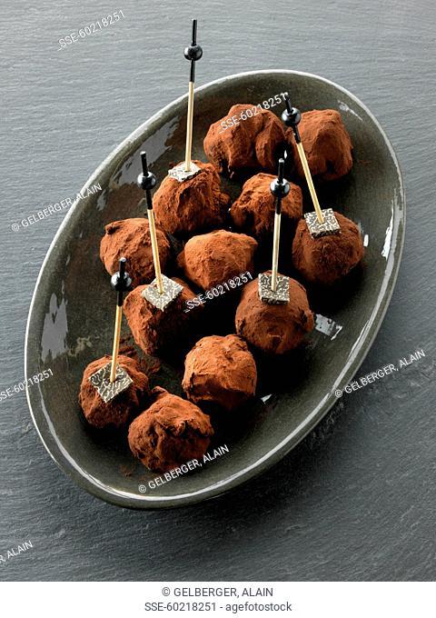 Black truffle and chocolate truffles