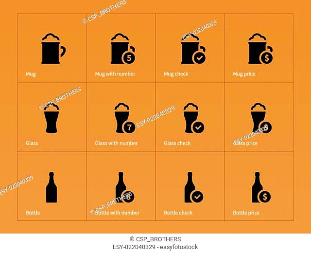 Beer and alcohol glasses icons on orange background