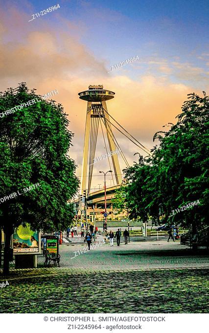 The UFO Bridge over the River Danube in Bratislava
