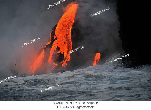 Lava from Kilauea Volcano flowing into the ocean, Hawaii Volcanoes National Park, Big Island, Hawaii, USA