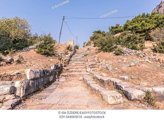 Ruins of Ancient Greek City of Priene in Soke,Aydin,Turkey