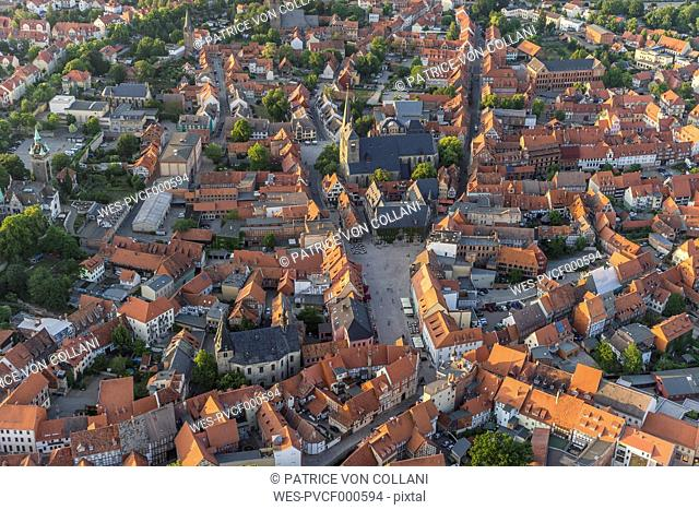 Germany, aerial view of Quedlinburg at evening twilight