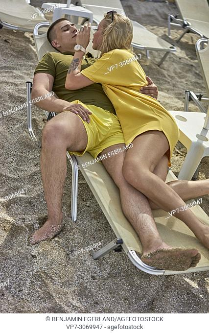 Young couple on the beach, Russian ethnicity, Hersonissos, Crete, Greece