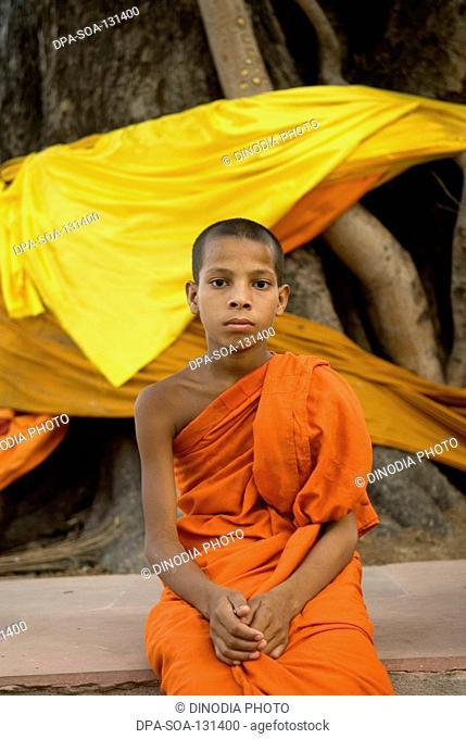Buddha monk at Mahabodhi temple ; Bodhgaya ; Bihar ; India