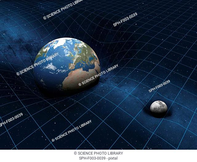 This image shows how the Earth and Moon each make dents in the fabric of space-time. The Earth, being 81 times more massive than its natural satellite