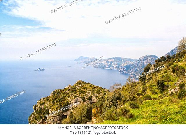 Sorrento peninsula and Capri island seen from God's Path in Agerola mountains