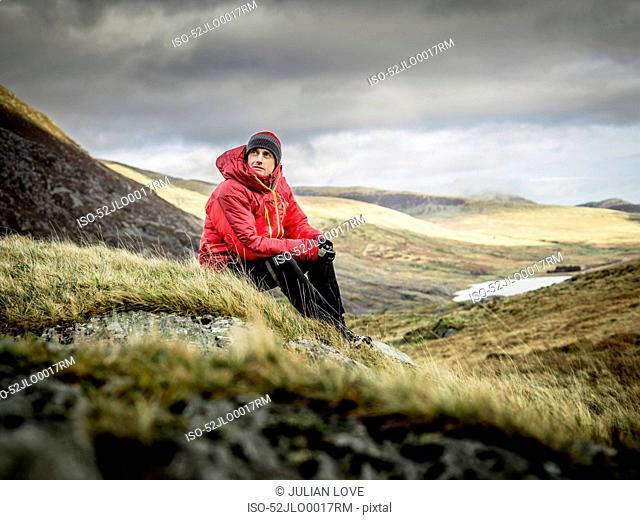 Man hiking in rocky landscape