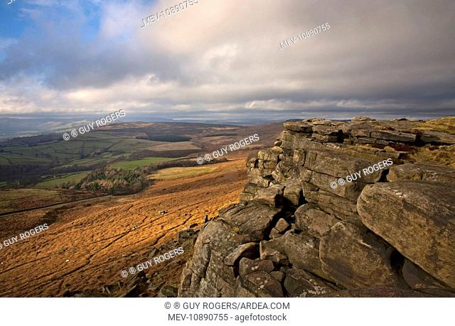 View looking across the Derdyshire countryside from Stanage Edge. Derbyshire - England
