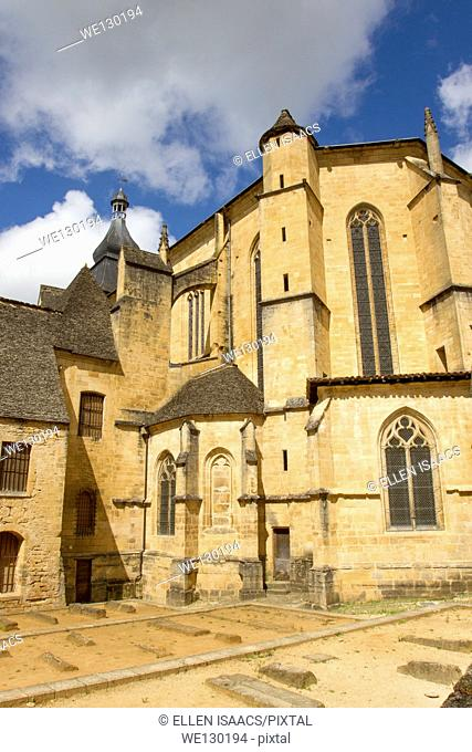 Rear of Saint-Sacerdos Cathedral, medieval sandstone building in Sarlat, charming town in Dordogne region of France