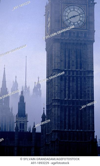 Big Ben on a misty day, London, England, UK