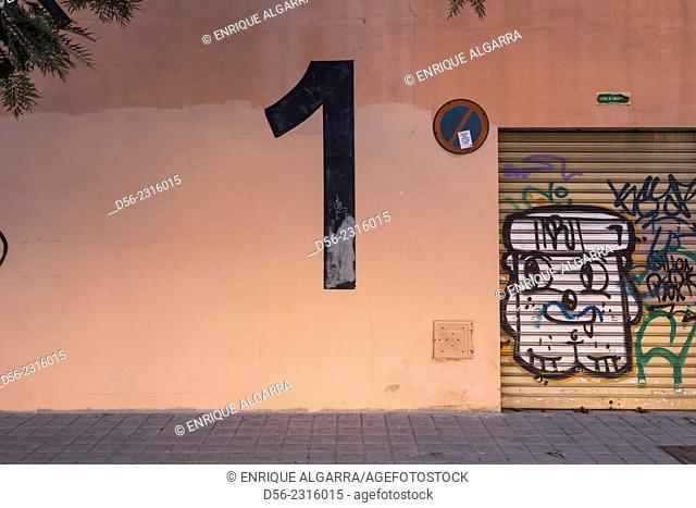 exit door of a closed cinema, Valencia, Spain