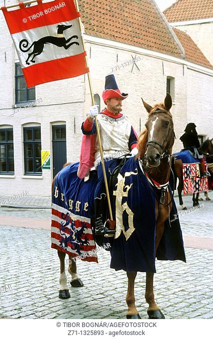 Belgium, Bruges, Pageant of the Golden Tree, festival, man on horseback