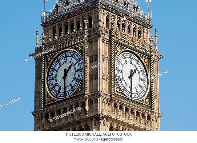 Big Ben clock closeup, London England