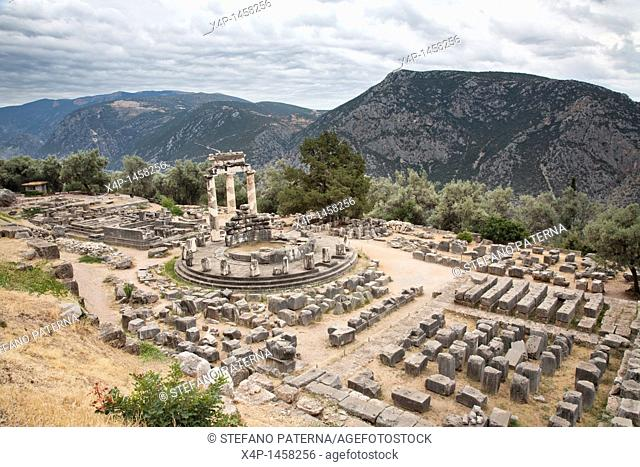 Tholos is a fourth century BC rotunda, Delphi Greece