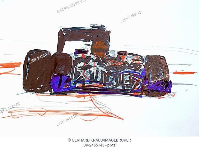 Formula 1 racing cars, illustration, Gerhard Kraus, Kriftel, Germany