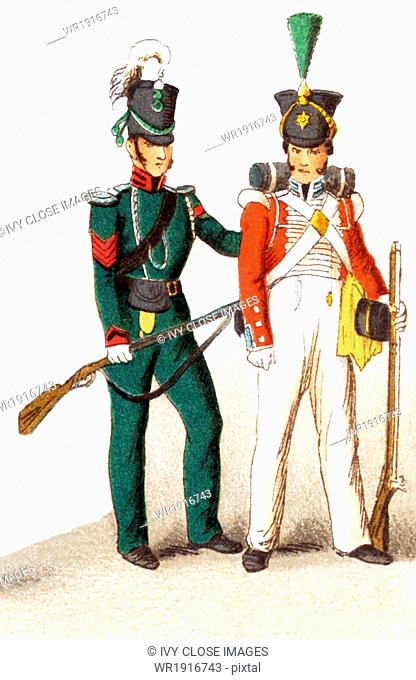 The figures represented here are English military in 1830. From left ot right, they are a Rifleman and an Infantry guard