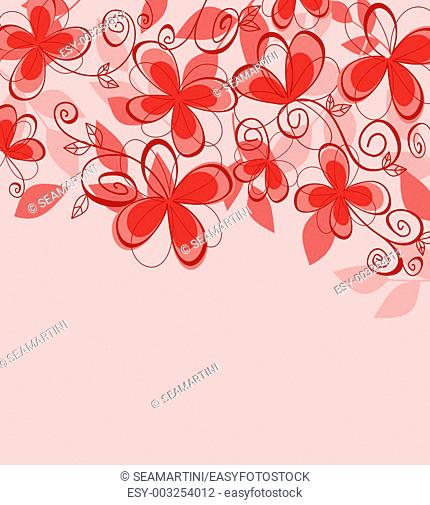 Colorful abstract floral background with red flowers for textile or invitation card design