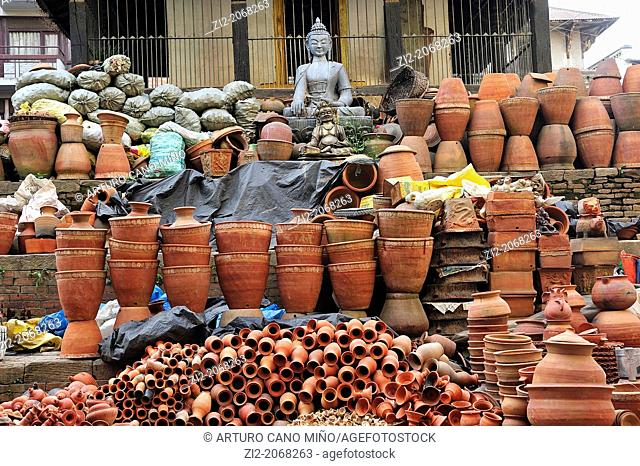 Sale of ceramic and Buddha statue, Kathmandu, Nepal
