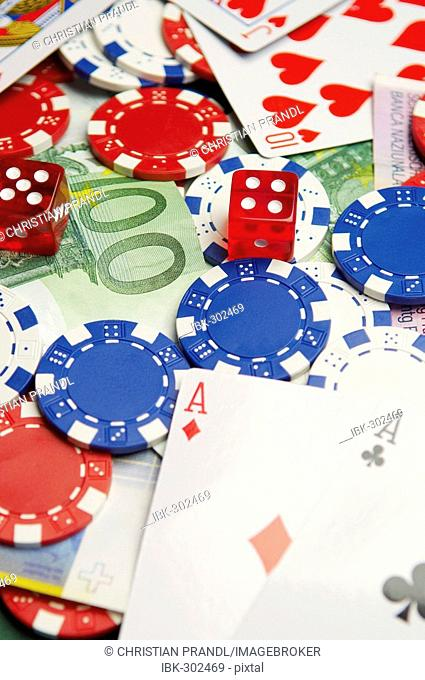 Gambling cards, chips and dice