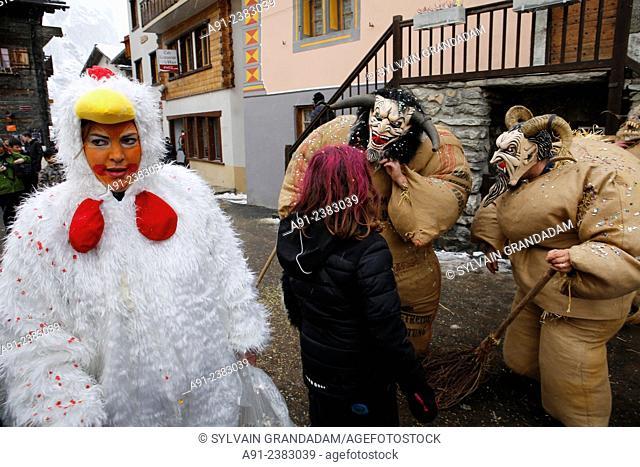 Switzerland, Valais, Val d'Herens, village of Evolene, Carnaval